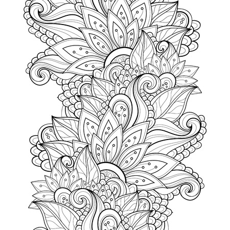 nature backgrounds: Vector Seamless Monochrome Floral Pattern. Hand Drawn Floral Texture, Decorative Flowers, Coloring Book Illustration