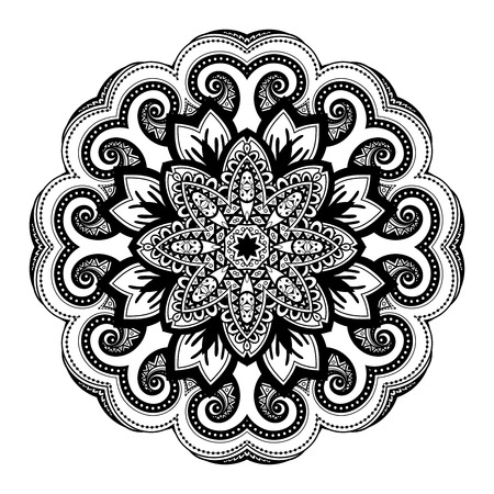 Vector Beautiful Deco Black Mandala, Patterned Design Element, Ethnic Amulet