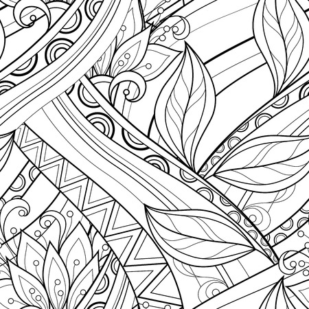 hand drawn flower: Vector Seamless Monochrome Floral Pattern. Hand Drawn Floral Texture, Decorative Flowers, Coloring Book Illustration