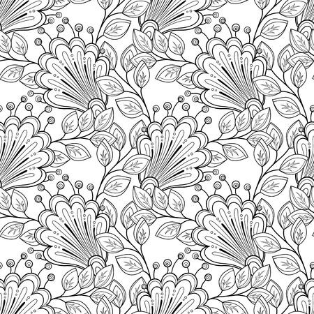 Pattern Vector Seamless Monochrome floreale. Drawn floreale Texture, Fiori decorativi, Coloring Book mano Archivio Fotografico - 42161910