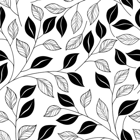 tile pattern: Vector Seamless Contour Floral Pattern. Hand Drawn Monochrome Floral Texture, Decorative Leaves, Coloring Book