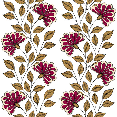 flowers background: Vector Seamless Floral Pattern. Hand Drawn Floral Texture, Decorative Flowers, Coloring Book