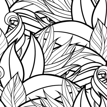 Vector Seamless Contour Floral Pattern. Hand Drawn Monochrome Floral Texture, Decorative Leaves, Coloring Book Фото со стока - 42161964