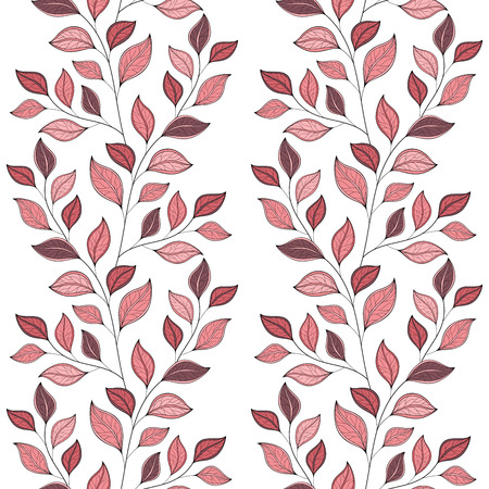 flowerbed: Vector Seamless Floral Pattern. Hand Drawn Floral Texture, Decorative Leaves, Coloring Book Illustration