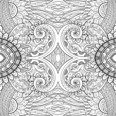 mandala: Vector Seamless Abstract Black and White Tribal Pattern. Hand Drawn Ethnic Texture, Flight of Imagination