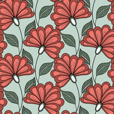 seamless: Vector Seamless Floral Pattern. Hand Drawn Floral Texture, Decorative Flowers, Coloring Book