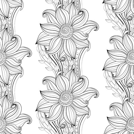 floral seamless pattern: Vector Seamless Monochrome Floral Pattern. Hand Drawn Floral Texture, Decorative Flowers, Coloring Book Illustration