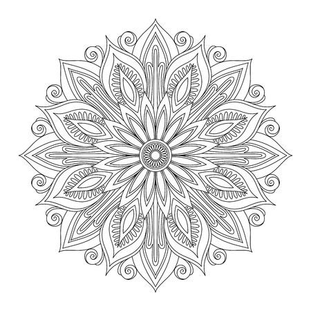 outlinear: Vector Hermosa Deco Negro Mandala, Diseño modelado del elemento, étnico Amuleto