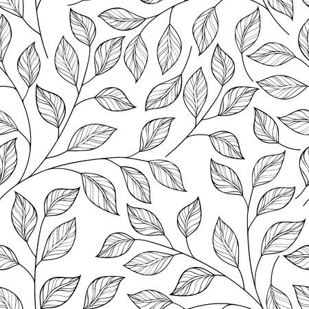 patrones de flores: Modelo inconsútil del vector Contour floral. Hand Drawn Monocromo Textura floral, hojas decorativas, Coloring Book