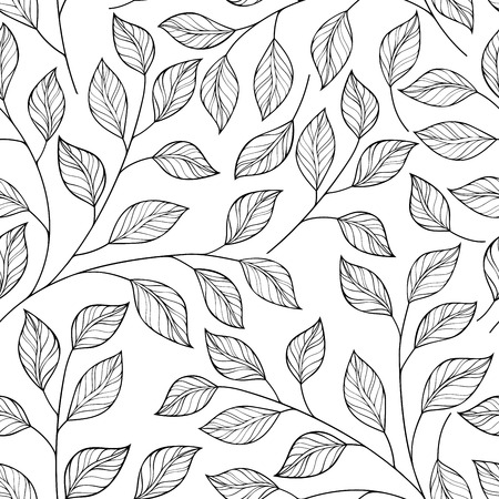 black pattern: Vector Seamless Contour Floral Pattern. Hand Drawn Monochrome Floral Texture, Decorative Leaves, Coloring Book