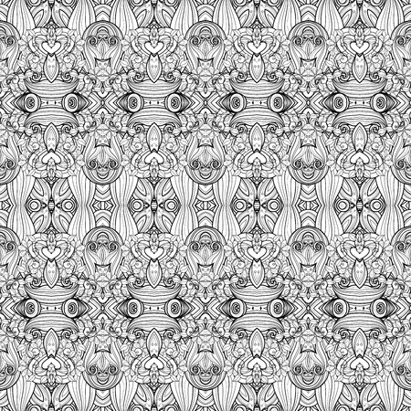 batik motif: Vector Seamless Monochrome Ornate Pattern. Hand Drawn Damask Texture, Vintage Style