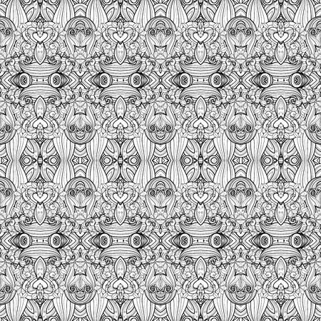batik: Vectorielle Seamless Monochrome Motif Ornement. Hand Drawn damassé de texture, Vintage Style