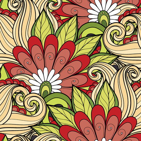 grasses: Vector Seamless Floral Pattern. Hand Drawn Floral Texture, Decorative Flowers, Coloring Book