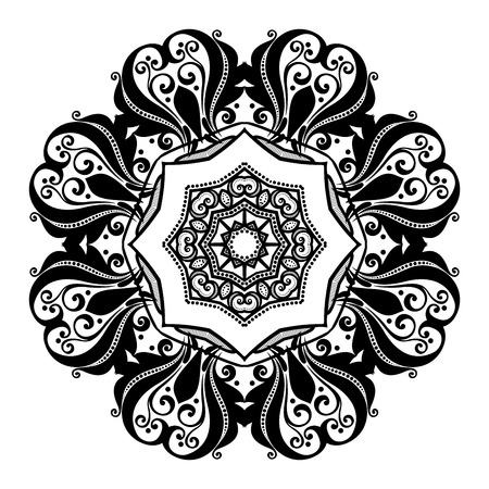 amulet: Vector Beautiful Deco Black Mandala, Patterned Design Element, Ethnic Amulet