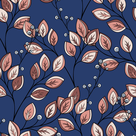 Vector Seamless Floral Pattern. Hand Drawn Floral Texture, Decorative Leaves, Coloring Book Иллюстрация