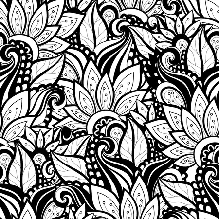 Vector Seamless Monochrome Floral Pattern. Hand Drawn Floral Texture, Decorative Flowers, Coloring Book Vettoriali