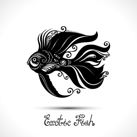 exotic fish: Vector Exotic Fish. Patterned Sea Logo Collection. Decorative Design