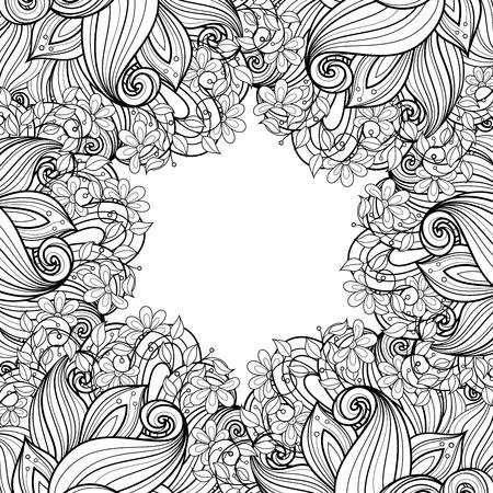 モノクロな花の背景のベクトル手には、フローラル リースで飾りが描かれました。グリーティング カード用のテンプレート
