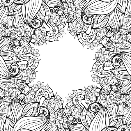 line design: Vector Monochrome Floral Background. Hand Drawn Ornament with Floral Wreath. Template for Greeting Card Illustration