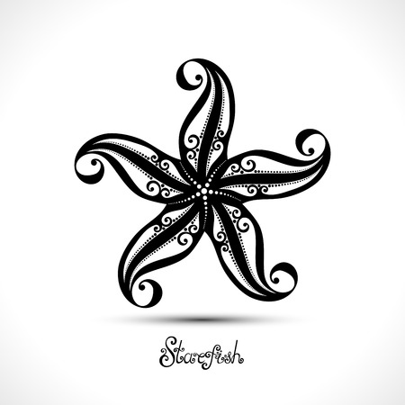 Vector Abstract Starfish. Patterned Sea Logo Collection. Decorative Design Vettoriali