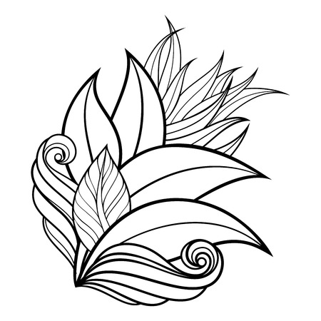 Vector Monochrome Floral Background. Hand Drawn Ornament with Leaves and Herbs. Template for Greeting Card