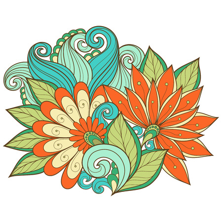 Vector Colored Floral Background. Hand Drawn Ornament with Flowers. Template for Greeting Card Vettoriali