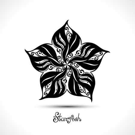 health resort: Vector Abstract Starfish. Patterned Sea Logo Collection. Decorative Design Illustration