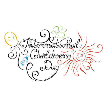 writting: Vector International Childrens Day Inscription, Hand Drawn Holiday Lettering. Ornate Vintage Lettering