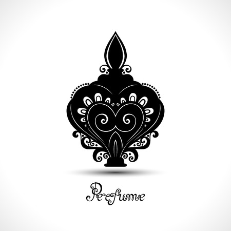 Vector Decorative Ornate Bottle of Perfume. Women's Stuff Collection