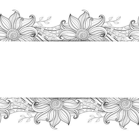 Background Vettore Monocromatico floreale. Disegnato a mano Ornamento con i fiori. Modello per Greeting Card Archivio Fotografico - 42164762