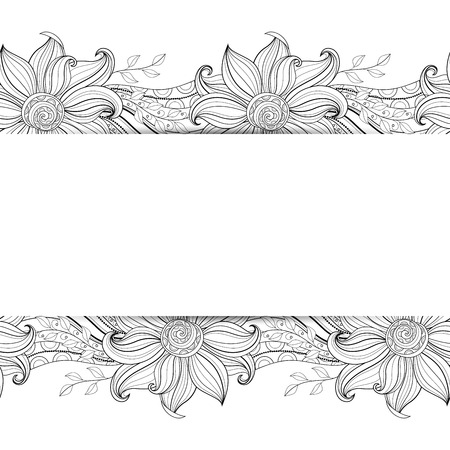 Vector Monochrome Floral Background. Hand Drawn Ornament with Flowers. Template for Greeting Card Çizim