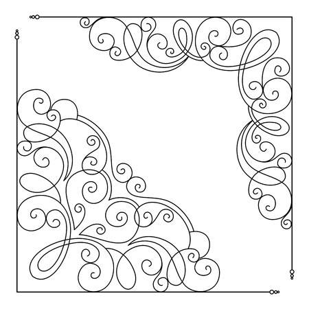 Vector Set of Calligraphic Design Elements and Page Decorations. Collection of Design Elements in Linear Style