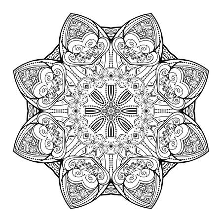 Vector Beautiful Deco Black Mandala, Patterned Design Element, Ethnic Amulet Reklamní fotografie - 42499221