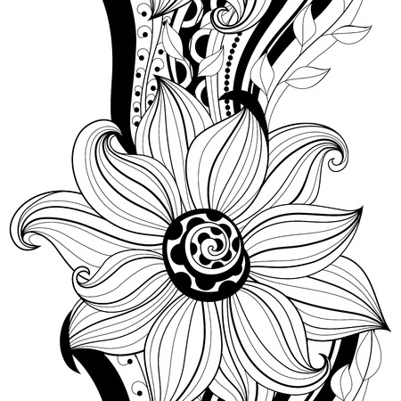 vector seamless monochrome floral pattern hand drawn floral texture decorative flowers coloring book - Coloring Book Flowers