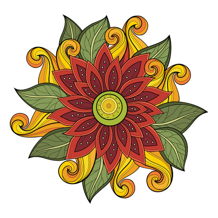 greeting card background: Vector Colored Floral Background. Hand Drawn Ornament with Flowers. Template for Greeting Card Illustration