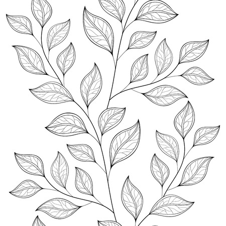 flowerbed: Vector Seamless Contour Floral Pattern. Hand Drawn Monochrome Floral Texture, Decorative Leaves, Coloring Book