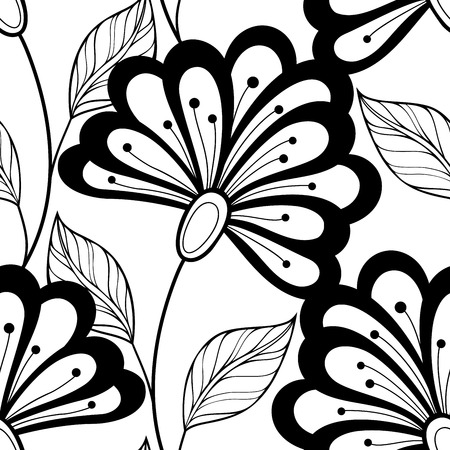 Vector Seamless Monochrome Floral Pattern. Hand Drawn Floral Texture, Decorative Flowers, Coloring Book Stock Vector - 42499668