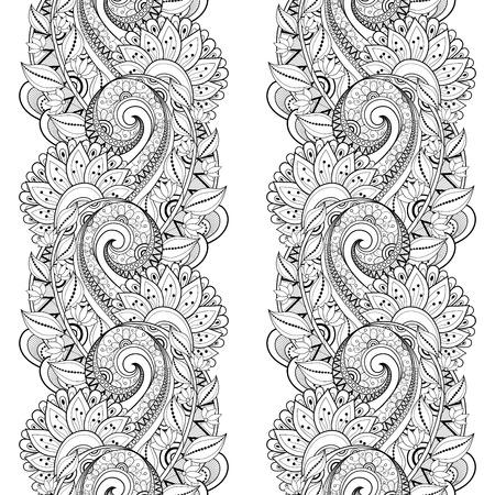 encaje: Modelo incons�til del vector monocromo floral. Hand Drawn Textura floral, decorativo Flores, Coloring Book