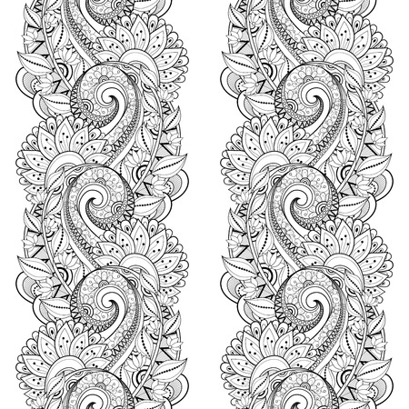 white lace: Vector Seamless Monochrome Floral Pattern. Hand Drawn Floral Texture, Decorative Flowers, Coloring Book Illustration