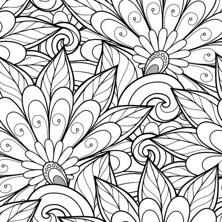 Vector Seamless Monochrome Floral Pattern. Hand Drawn Floral Texture, Decorative Flowers, Coloring Book  イラスト・ベクター素材