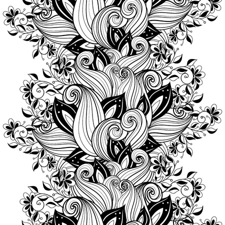contours: Vector Seamless Monochrome Floral Pattern. Hand Drawn Floral Texture, Decorative Flowers, Coloring Book Illustration