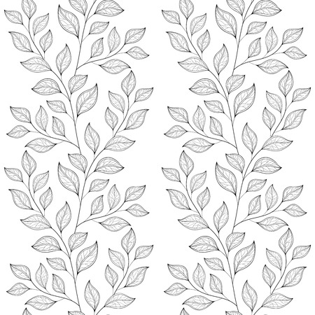 Seamless Contour Floral Pattern. Hand Drawn Monochrome Floral Texture, Decorative Leaves, Coloring Book