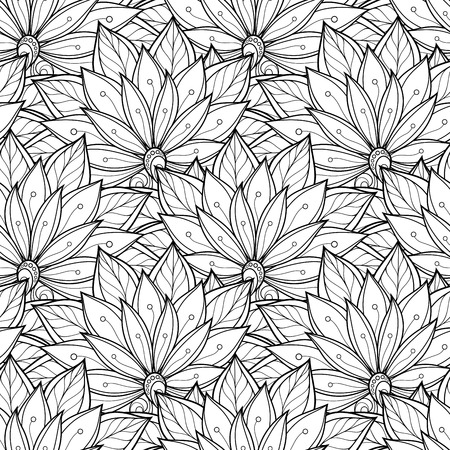 paper art: Seamless Monochrome Floral Pattern. Hand Drawn Floral Texture, Decorative Flowers, Coloring Book