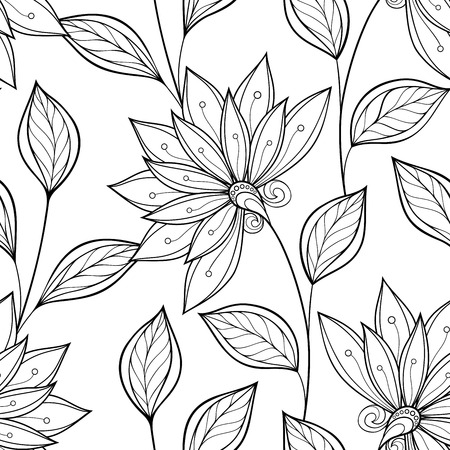 Seamless Monochrome Floral Pattern. Hand Drawn Floral Texture, Decorative Flowers, Coloring Book Stock Vector - 43213284