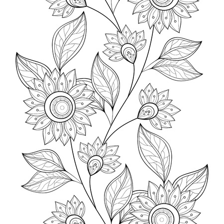 book: Seamless Monochrome Floral Pattern. Hand Drawn Floral Texture, Decorative Flowers, Coloring Book