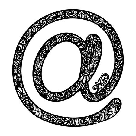 adress: Decorative e-Mail Symbol. Hand Drawn Design Element with Complex Pattern