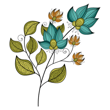 leaf line: Vector Beautiful Colored Contour Flower, Floral Design Element