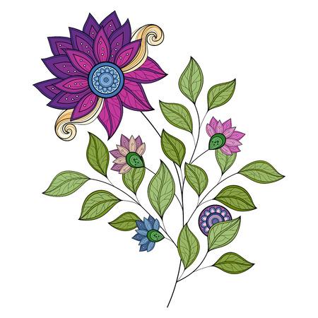 feminine floral flower: Vector Beautiful Colored Contour Flower, Floral Design Element