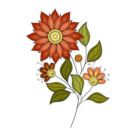 dessin florale Vecteur Belle couleur Contour Fleur, Floral Design Element Illustration