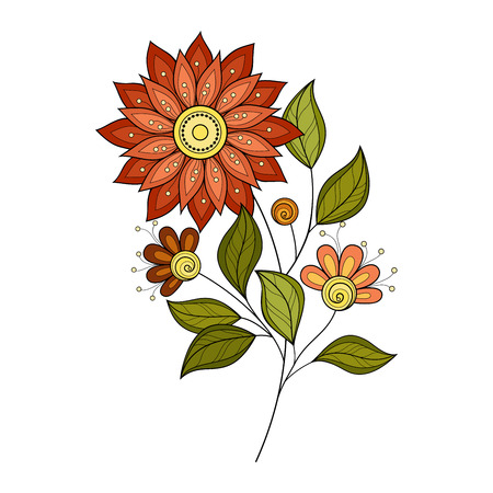ornaments floral: Vector Beautiful Colored Contour Flower, Floral Design Element
